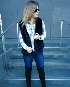 Fall outfit idea - click through for more of this faux fur vest outfit idea.