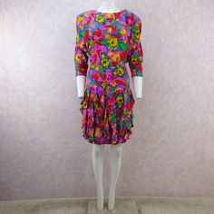 Vintage 80s Floral Silk Dropwaist Dress w/Ruffled Skirt