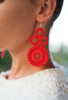 Red earrings Gift idea for women crochet statement earrings