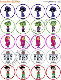 SALE Teen Titans Go Cupcake Toppers by TwoFiveInvitations on Etsy