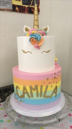 Magical 2 tier unicorn rainbow cake