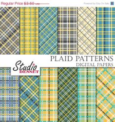 ON SALE Plaid Papers Digital Papers Pastel by StudioDesset on Etsy, $1.80