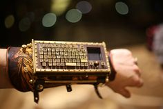 Steampunk Typewriter Arm Guard with Bluetooth and Touchpad. $1,200.00, via Etsy.