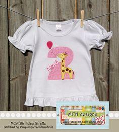 MCA - Birthday Giraffe Applique.
