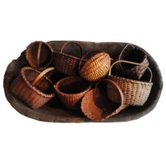 Collection of Nine American Miniature Baskets From New Eng Neat display idea Old Baskets, Vintage Baskets, Vintage Bowls, Wire Baskets, Native American Baskets, Weaving Art, Basket Decoration, Basket Weaving, Wicker