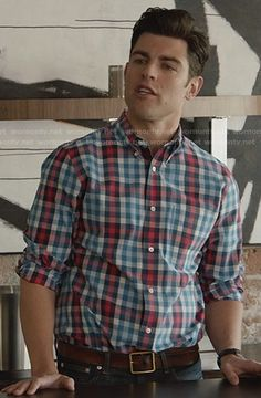 Schmidt's blue and red checked shirt on New Girl.  Outfit Details: http://wornontv.net/28410/ #NewGirl