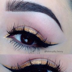 "Black & gold  Black eyeliner- @illamasqua ""Precision gel liner"" Gold eyeliner- @nyxcosmetics ""studio liquid liner"" in Extreme Gold Lashes- @eldorafalseeyelashes #M105  Brows- @anastasiabeverlyhills Brow wiz & Dip Brow both on dark brown"