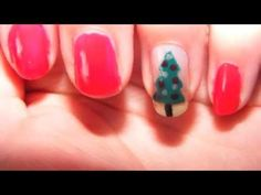 Easy and cute christmas tree nail art tutorial!