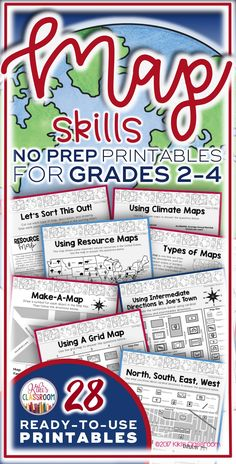 Map Skills Activities for Grades 2-4 ~ Ready to Use Printables: Types of Maps, Cardinal Directions, Intermediate Directions, Scale, Grid Maps, & MORE!