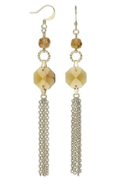 Earrings with German Crystal Beads and Links and Brass Chain - Fire Mountain Gems and Beads