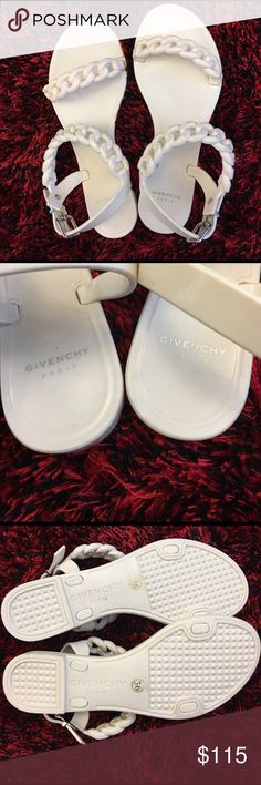 Givenchy Paris chain link sandals This is posh resale. I love them a ton but they are too tight for my ankles (I have wider than normal ankles). They are a simple creme color. Super cute dressed up or down! Givenchy Shoes Sandals