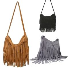 Hot Sale Fashion Women's Suede Weave Tassel Shoulder Bag Messenger Bag Fringe Handbags
