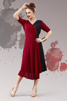 Maroon and black stylish evening wear georgette kurtis and tunics 6937