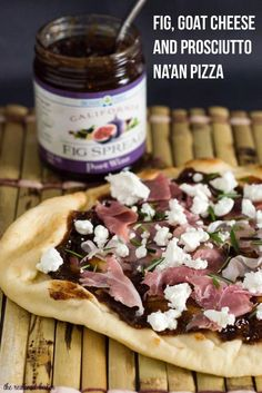 Fig, Goat Cheese and Prosciutto Na'an Pizza by The Redhead Baker Naan Pizza, Flatbread Pizza Recipes, Fig Recipes, Indian Food Recipes, Cooking Recipes, Snacks Recipes, Easy Snacks, Recipies, Goat Cheese Pizza
