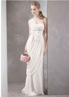 Vera Wang White Label Gown With Assymetrical Draped Skirt Style Wedding Dress $515