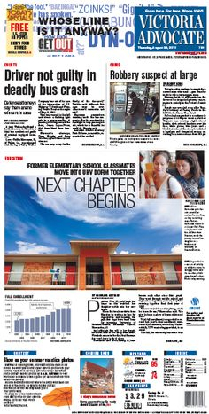 Here is the front page of the Victoria Advocate for Thursday, Aug. 22, 2013. To subscribe to the award-winning Victoria Advocate, please call 361-574-1200 locally or toll-free at 1-800-365-5779. Or you can pick up a copy at one of the numerous locations around the Crossroads region.
