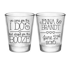 "100x Custom Wedding Favors 2 Side Shot Glasses | 1.75 oz Clear | We Came For The I Do's (1A) | Choose Imprint Color | by ""ThatWedShop"" on Etsy 
