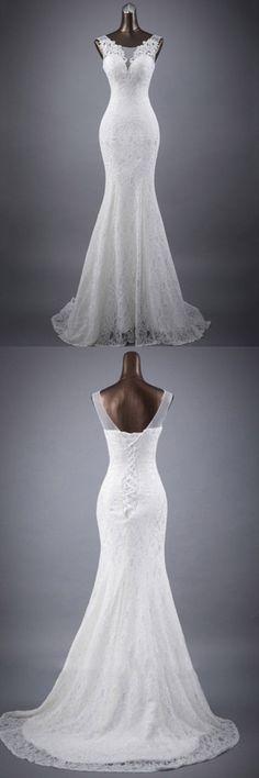 Scoop Neck Appliques Lace Trumpet/Mermaid Wedding Dress WD154 #weddingdress #wedding