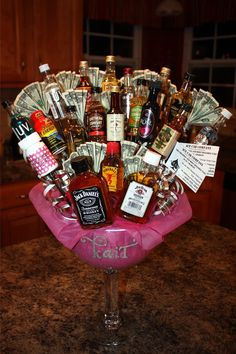 Liquor Bouquet Candy Alcohol Gifts Birthday Fun 21st