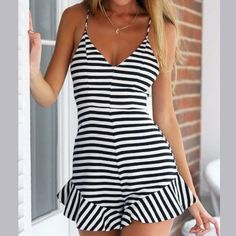 Black and white striped romper This super cute black and white striped romper is NWT. Just bought it but it's a little big on me and I don't want to hassle with returns. Great buy! Other