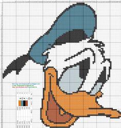 Pato Donald - Patron punto de cruz 88 x 94 puntos 5 colores DMC