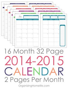 2014-2015 Printable Calendar via Organizing Homelife