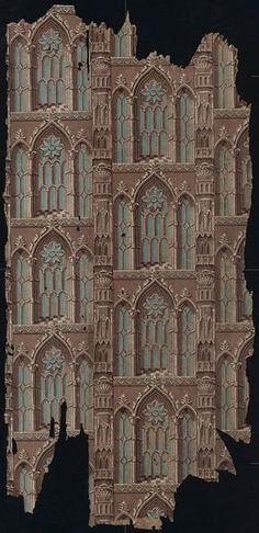 7999a1ef690 Block-printed Gothic Revival wallpaper fragments