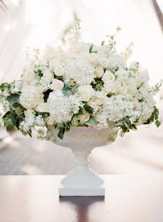 Hydrangea rose altar arrangement