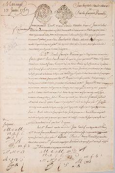 Marriage Contract Between Jean Baptiste Claude Allevin, Gunmaker, and Barbe Françoise Bernard, Paris, July 13, 1759, July 13, 1759. French. The Metropolitan Museum of Art, New York. Gift of Herbert G. Houze, 2014 (2014.279)