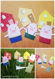 fairy tail three little piggies drie kleine biggetjes sprookje mypinspiration elja Pig Crafts, Animal Crafts, Felt Crafts, Fairy Tale Activities, Activities For Kids, Crafts For Kids, Three Little Piggies, Little Pigs, Pop Up Karten