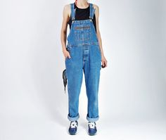 Vintage denim overalls from 1990s #etsyworkwearteam Totally in hip hop style, look great in boyfriend outfits (as oversized) Great quality denim fabric Classic overalls