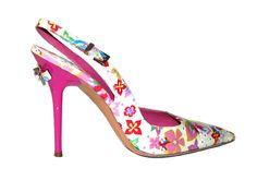 Cesare Paciotti floral slingback sandals w/pink lacquered heels #CesarePaciotti