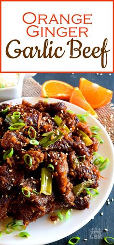 Orange Ginger Garlic Beef – Lord Byron's Kitchen – Food: Veggie tables Sliced Beef Recipes, Meat Recipes, Asian Recipes, Cooking Recipes, Healthy Recipes, Recipies, Cooking Beef, Beef Meals, Healthy Nutrition