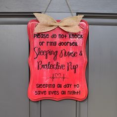 Large Sleeping Nurse Door Hanger - Choose Your Color - Do Not Knock Door Hanger - Day Sleeper Sign - Do Not Knock Sign by OliveYewToo on Etsy https://www.etsy.com/listing/464691030/large-sleeping-nurse-door-hanger-choose