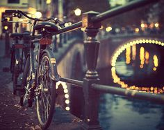 Amsterdam Photography, Bike Art, Blue Black Night, Bridge Lights, Dreamy, City, Urban, Bicycle Photograph, Europe - Going Dutch http://enjoy-apartments.com/blog/