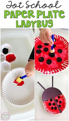 School: Insects Super easy paper plate ladybug craft perfect for insect/bug theme in tot school, preschool, or kindergarten.Super easy paper plate ladybug craft perfect for insect/bug theme in tot school, preschool, or kindergarten. Insect Activities, Preschool Activities, Preschool Bug Theme, Reptiles Preschool, Preschool Kindergarten, Paper Plate Crafts, Paper Plates, Daycare Crafts, Crafts For Kids