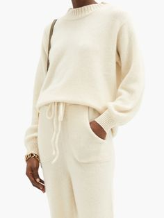 Neutral High-neck cashmere sweater | The Elder Statesman | MATCHESFASHION AU Cozy Sweaters, Cashmere Sweaters, Friends In Love, Lounge Wear, Knitwear, Pullover, Sweatshirts, Model, Neutral