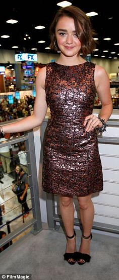 Ready for battle: Maisie wore a cute bronze dress to promote Game Of Thrones at the San Diego event