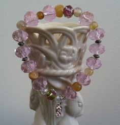 Pink crystal glass beads, Facy glass beads, Natural stone beads. Beautiful stretch bracelet with Silver ribbon charm. - pinned by pin4etsy.com