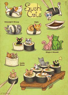 Sushi Cats by TrollGirl.deviantart.com on @deviantART