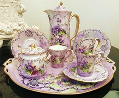 Museum Quality Bavaria Hand Painted Violets 11 Pc Floral Chocolate Set & Tray by Artist, B. Antique Dishes, Antique China, Vintage China, China Art, Fine China, Tea Sets Vintage, China Tea Sets, Tea Pot Set, Teapots And Cups