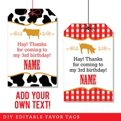 Paper goods and DIY printables for parties and holidays Vintage Farm Party, Country Western Parties, Favor Tags, 3rd Birthday, Favors, Mini, Projects, Blog, Handmade