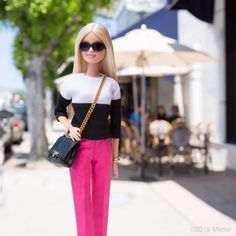 """Black, white and pink…my perfect palette!  #barbie #barbiestyle"""