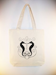 Gorgeous Vintage Seahorses Illustration Canvas Tote with Shoulder Strap -  larger zip top tote size and ANY COLOR IMAGE available