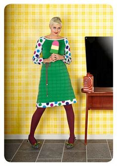 Margot by MWM. Love these dresses! Clothing Patterns, Sewing Patterns, Green Tights, Pantyhose Outfits, Danish Design, I Dress, Designer Dresses, Sewing Projects, Cool Style