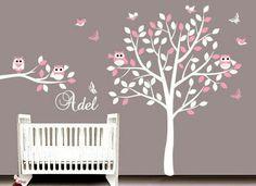 Énorme Swing Hibou oiseaux colorés Scroll Tree Wall Art Decal Stickers Nursery murale