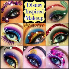 Disney-Inspired Eye Makeup Designs: Get The Look! (Video tutorials & photos) I honestly think this is a crazy makeup look but if you want to do this go for it! Disney Eye Makeup, Disney Inspired Makeup, Ariel Makeup, Mermaid Makeup, Crazy Makeup, Pretty Makeup, Maquillage Halloween, Halloween Face Makeup, Make Up Designs