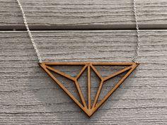 Geometric lasercut Necklace Delta by SharpCloud on Etsy, $29.00