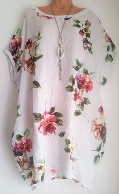 New 100% Linen Oversized Tunic Dress Top White Floral uk plus 22 24 26  #italian #dressorlongtop #any Tunic Pattern, Caftans, Business Fashion, New Fashion, Floral Tops, Harem Pants, Patterns, Sewing, My Style