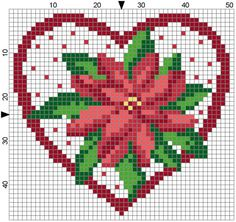 Poinsettia Heart by Stitchluv on Etsy